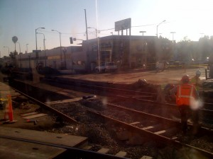 Trackwork at Washington Bl and Flower St, south of Downtown Los Angeles