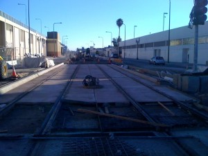 Expo Line looking south along Flower St from Washington