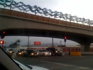 Expo La Cienega Bl. overpass and station